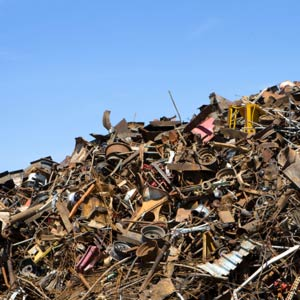 Piles of metal at the landfill site.